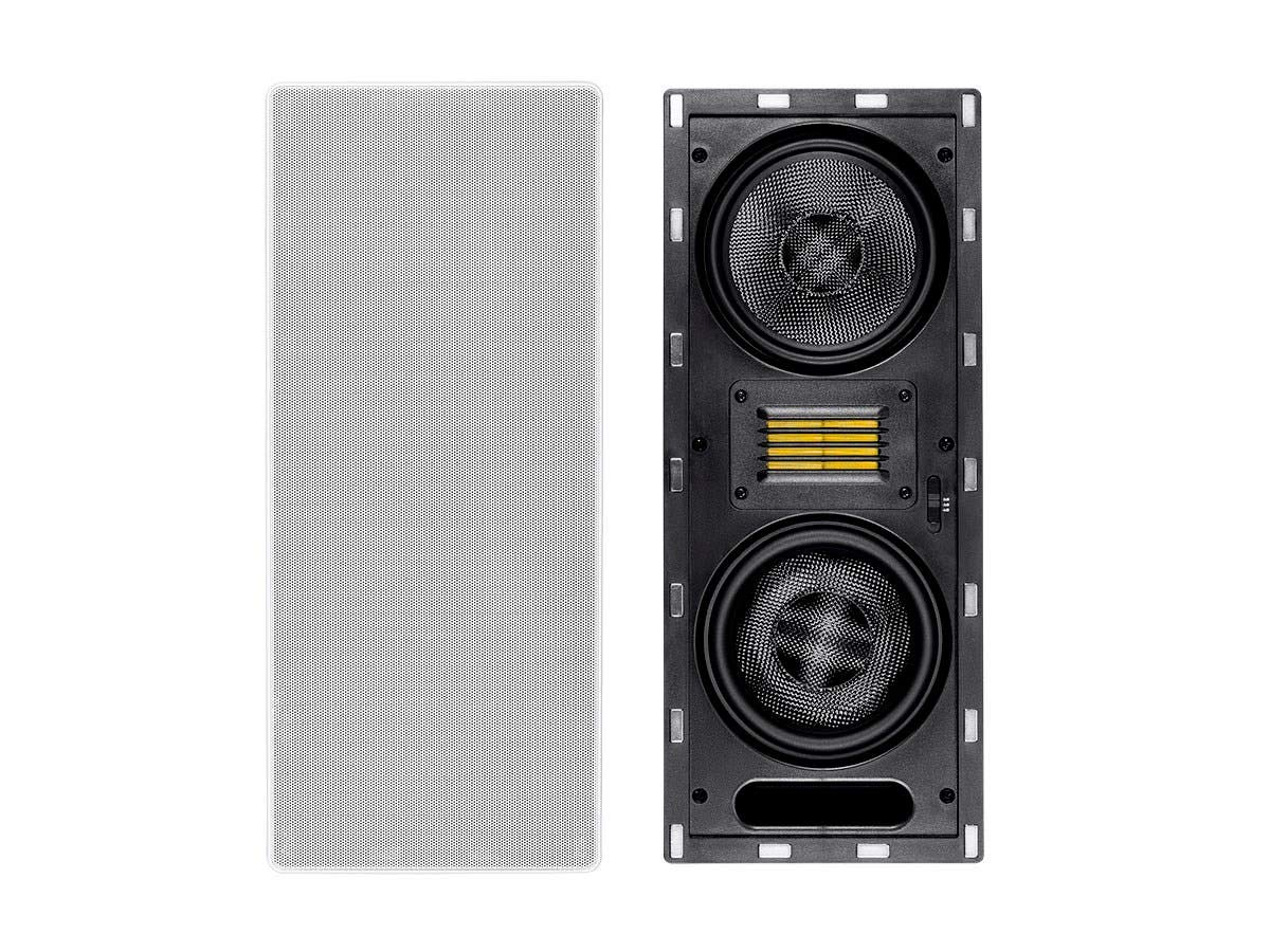 Monoprice 3-Way Carbon Fiber in-Wall Column Speaker - 6.5 Inch (Each) with Ribbon Tweeter - Amber Series