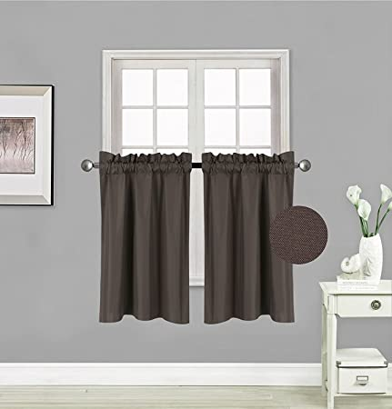 Fancy Collection 2 Panel Blackout Curtains Draperies Thermal Insulated Solid Brown Coffee Rod Pocket Top