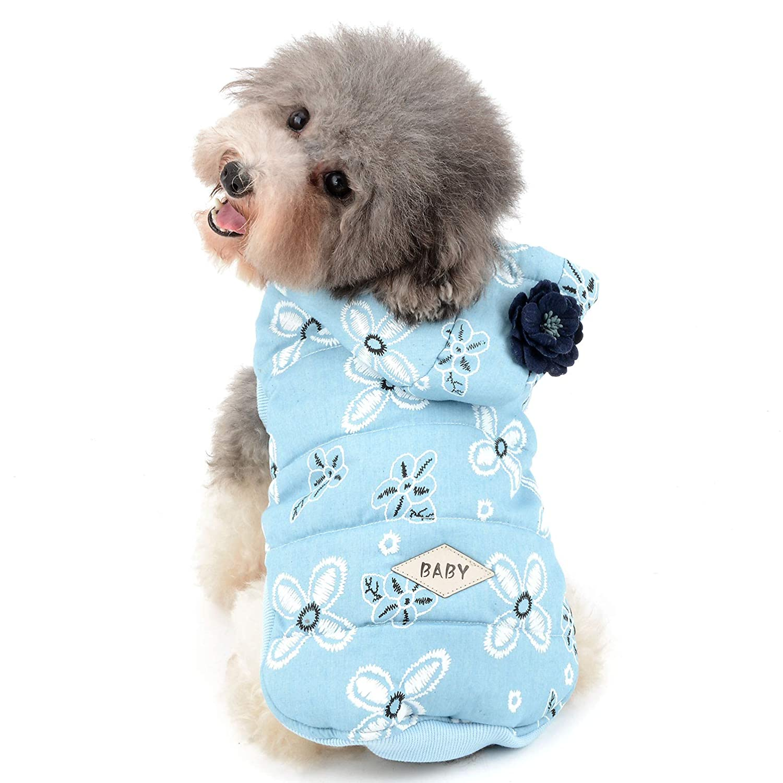 Ranphy Hundejacke, Fleece-Futter, mit Kapuze, Blumenmuster, Baumwolle, gepolstert, für den Winter, kalte Wetter, warme Katze, Chihuahua, Mädchen für drinnen und draußen für den Winter S dunkelblau