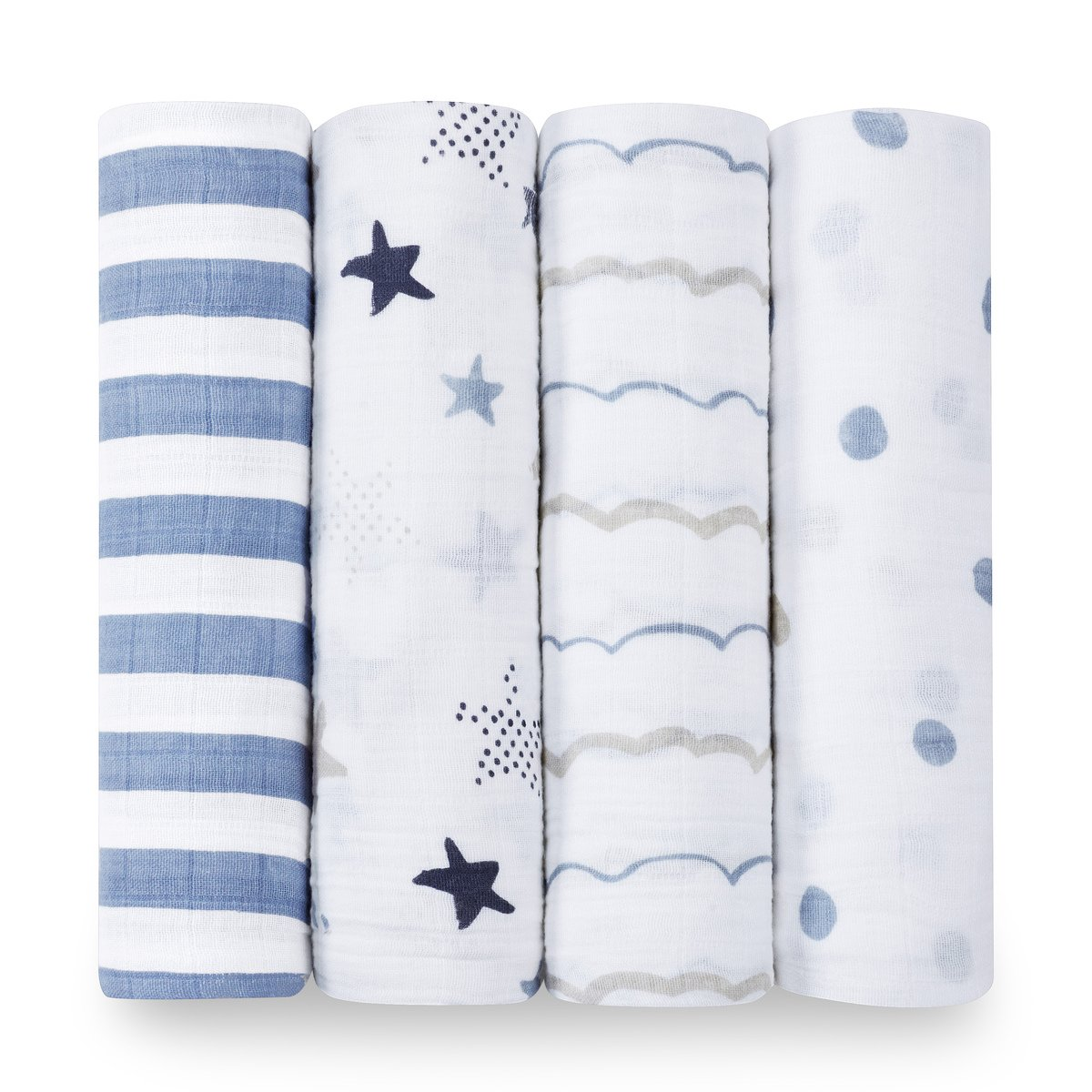 aden + anais Classic Swaddle Baby Blanket, 100% Cotton Muslin, Large 47 X 47 inch, 4 Pack, Rock Star, Blue
