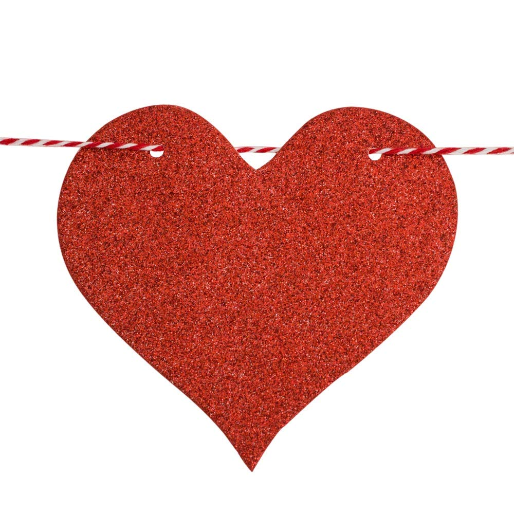 2 Pack Party Home Decorations Bridal Shower Valentines Day Decorations Red Heart Garland Banners String for Wedding Engagement