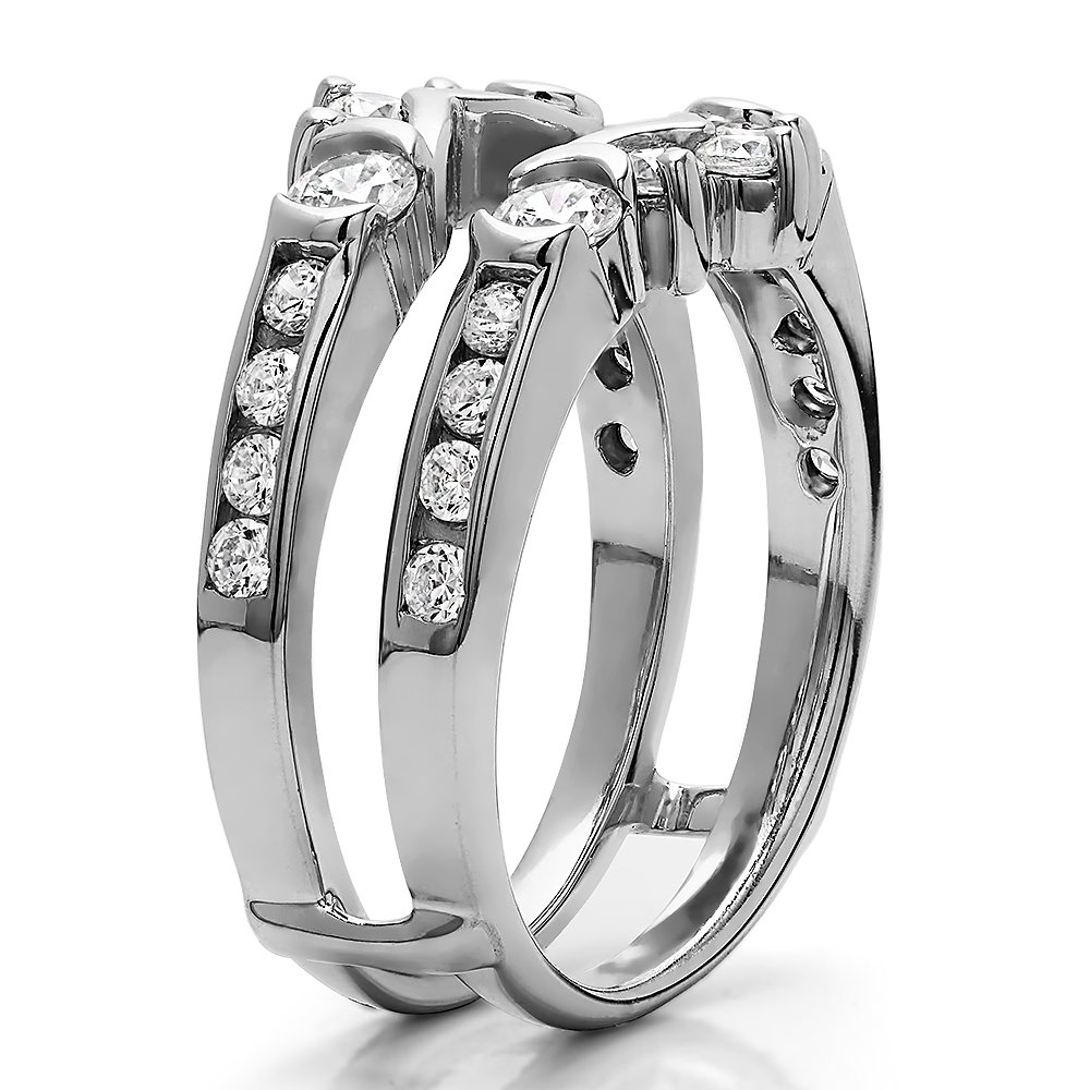 TwoBirch 1 ct. Cubic Zirconia Half Halo Classic Style Ring Guard in Sterling Silver (1 ct. twt.) by TwoBirch (Image #4)