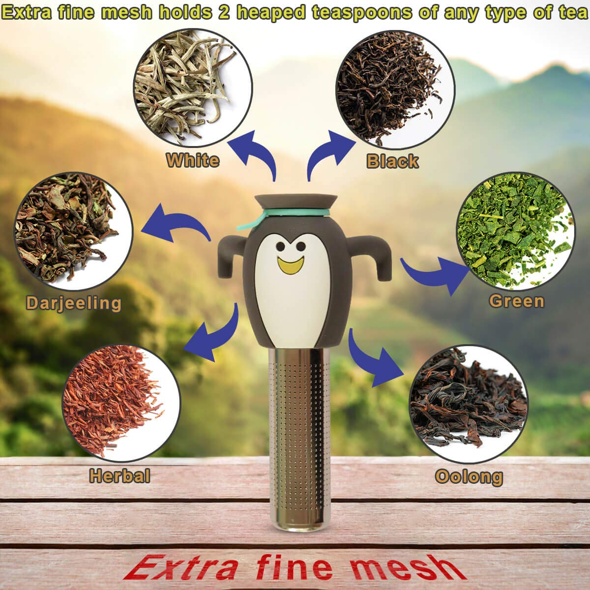 Penguin Tea Infuser For Loose Leaf Tea Cute Mr Penguin Brews The BEST Cup Of Tea With Long Fine Mesh Stick Filter And Own Drip Tray Bean/&Bliss Stainless Steel-Silicone Novelty Tea Infuser-Cutest Smiling Face