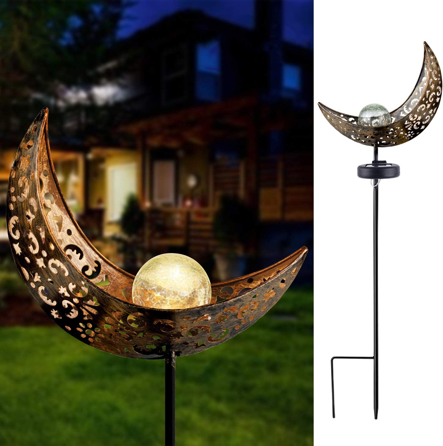 Solar Garden Lights - Solar Lights Outdoor Decorative - Moon Crackle Glass Globe Stake Metal Lights,Waterproof Warm White LED for Lawn,Patio or Courtyard