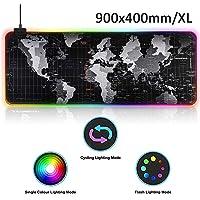 RGB Gaming Mauspad 900x400 Mousepad für Gaming Maus Tastatur, RGB Mauspad XL Mousepad Gaming mit 14 LED Beleuchtungs-Modi Mausepad Groß Wasserdicht Anti Rutsch Matte für PC, Computer, Schwarz