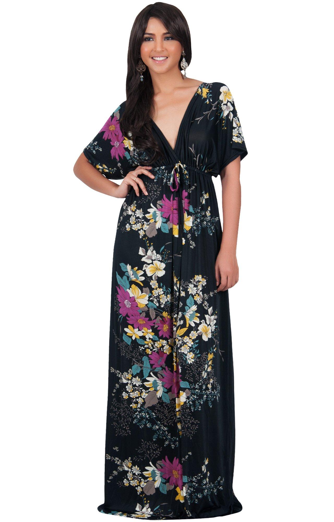 b25172229f8 KOH KOH Plus Size Womens Long Summer Floral Flower Print Sexy Kaftan Caftan  Beach Casual Flowy Hawaiin Sun Cover-up Sundress Sundresses Gown Gowns Maxi  ...