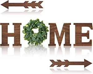 Rustic Wooden Home Sign Home Wall Decor with Eucalyptus Wreath for O Wood Letter and 2 Pieces Arrow Wall Decor, Home Sign Rustic Wall Art Decorations (Brown)