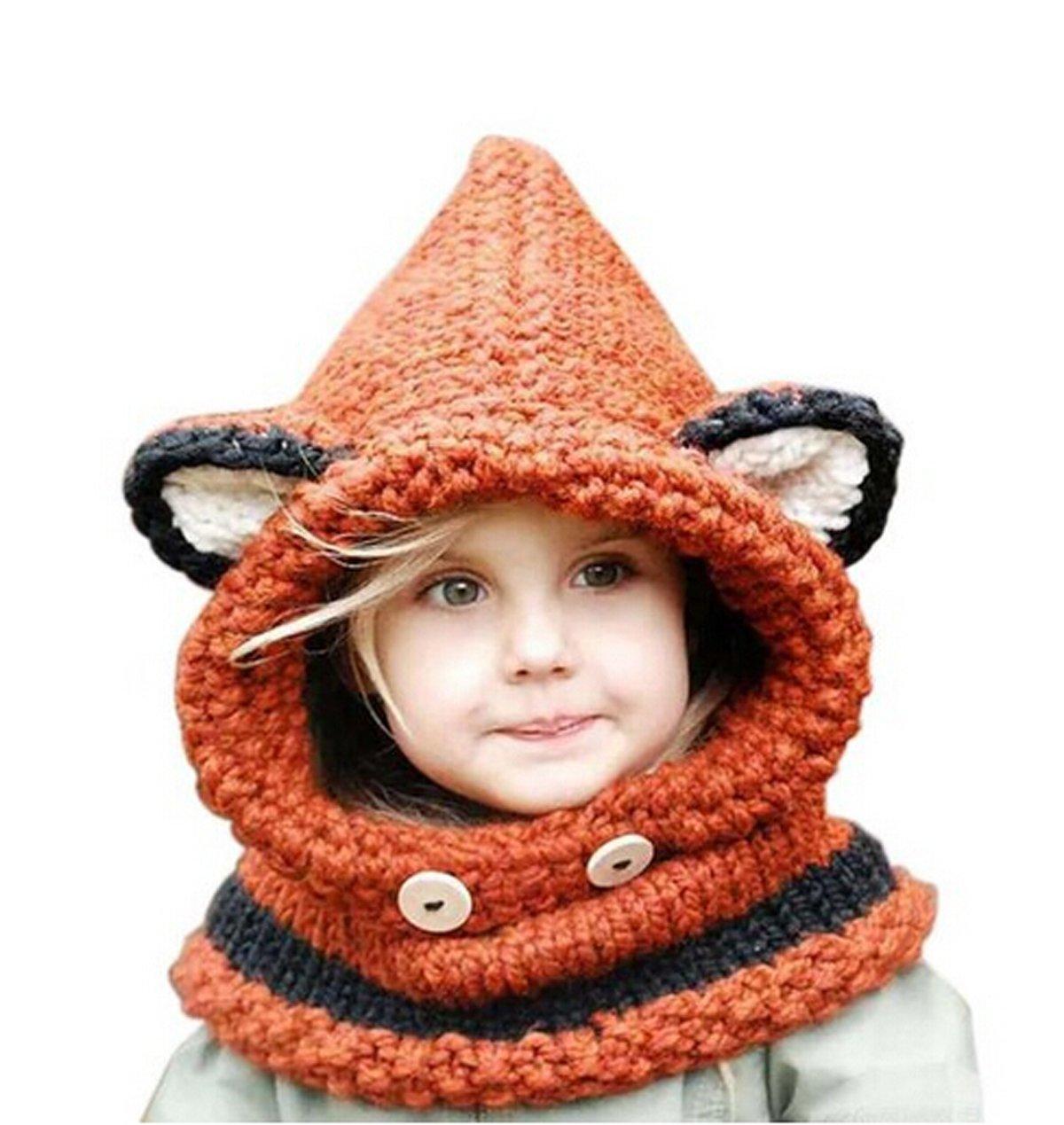 Juego de invierno de Jastore, para niñas, gorro y bufanda para invierno, con lindo diseño de zorro naranja naranja: Amazon.es: Bebé