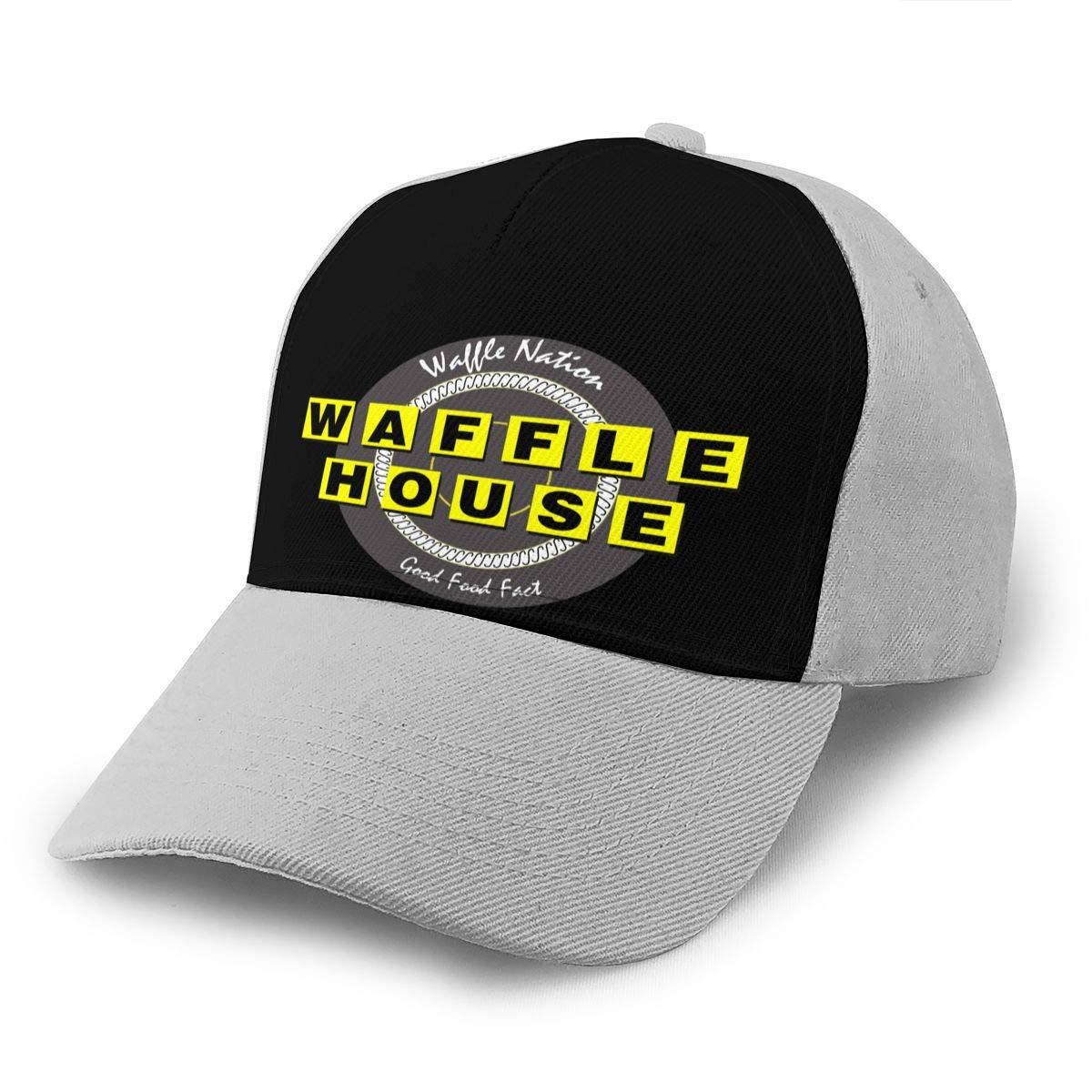 Adjustable Women Men Waffle-House Print Baseball Cap Flat Brim Cap Hats Hip Hop Snapback Sun Hat Boys Girls Gray by Apolonia