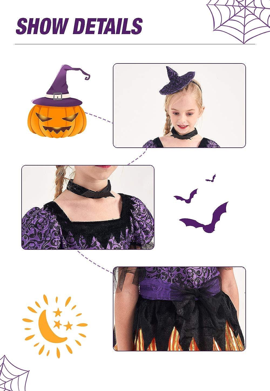 IKALI Girls Witch Costume Kids Spider Fancy Dress Up Halloween Spiderella Outfit