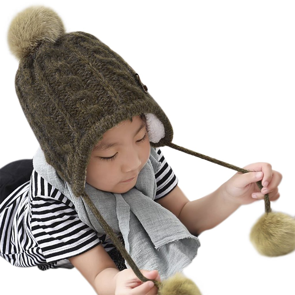 YLucky Toddler Kids Winter Bobble Hat with Ear Flaps Fleece Lined Warm Hood Hooded Cap Knitted Earcuff Hat Pom Beanie Beret for Girls Boys