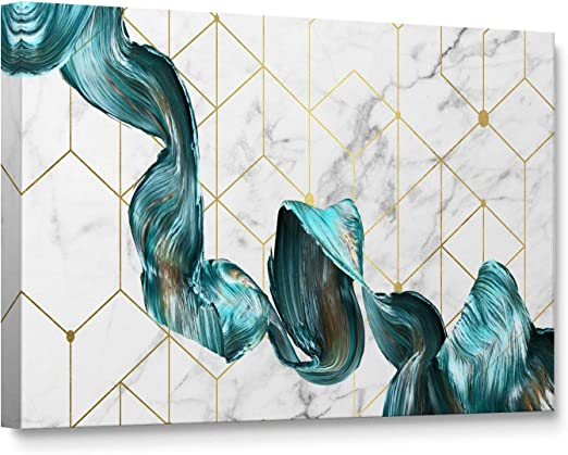 Amazon Com Niwo Art Teal And Gold Abstract Shape Color