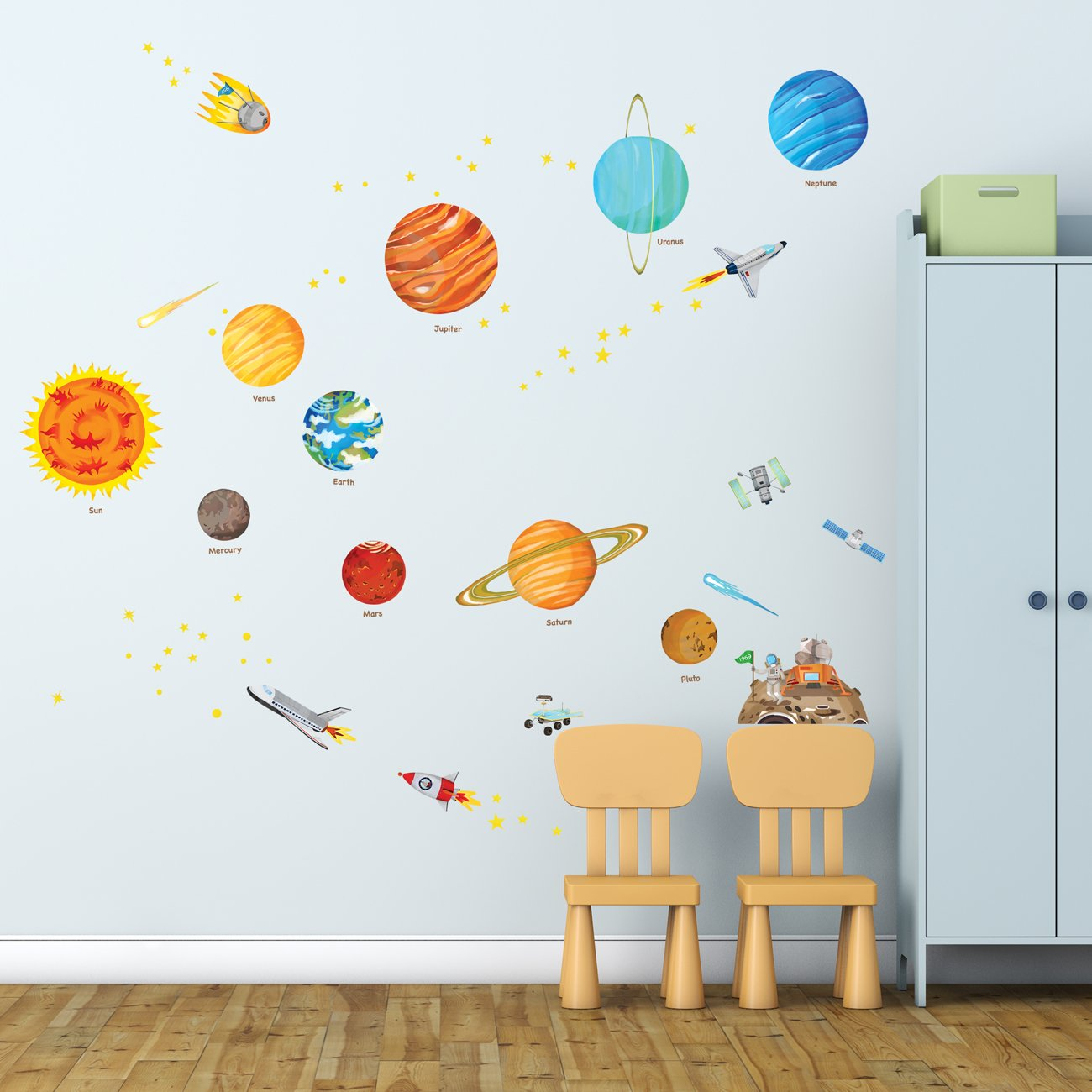 Decowall DW 1501S The Solar System Kids Wall Stickers Wall Decals Peel And  Stick Removable Wall Stickers For Kids Nursery Bedroom Living Room  (Medium): ...