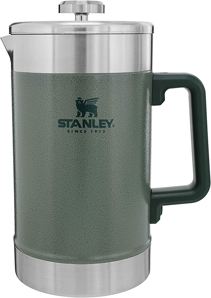 This is an image of the Stanley Unisex Green French Press Mug, with lid, and a plastic D-formed handle.