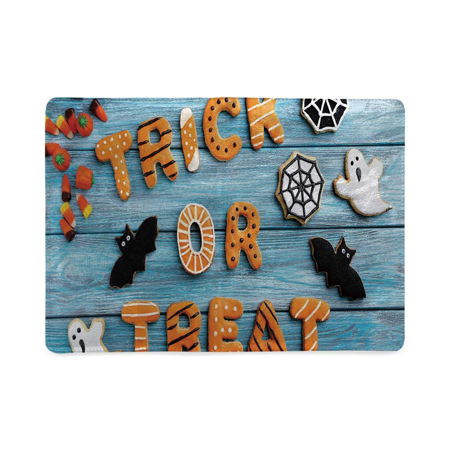 Vintage Halloween Timeless Style Notebook,Trick or Treat Cookie Wooden Table Ghost Bat Web Halloween Anniversary Celebration by YOLIYANA