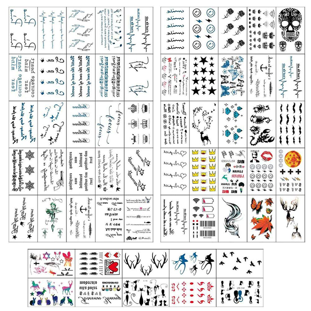 Hvogvok Colorful Temporary Tattoo Stickers, 60 pcs Different Style, Temporary Tattoos Stickers Waterproof, Moons, Skull, Leaf, Scar, CrossStar, Heart etc