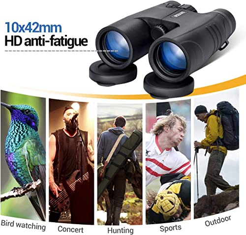 Professional Binoculars for Adults 10×42 Compact Lightweight Waterproof for Bird Watching Hunting Travel Outdoors Camping with Strap Carrying Bag Black