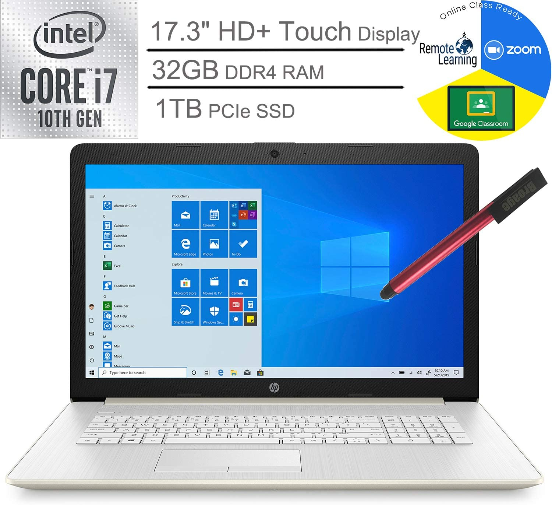 "2020 HP 17 17.3"" HD+ Touchscreen Laptop Computer_ 10th Gen Intel Quard-Core i7 1065G7 up to 3.9GHz_ 32GB DDR4 RAM_ 1TB PCIe SSD_ DVDRW_ Webcam_ Windows 10_ BROAGE 64GB Flash Stylus_ Online Class Ready"