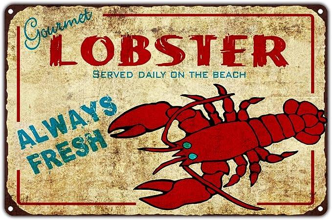 Seafood Lover Gift Lobster Aluminum Sign ENSA1003250 Seafood Market Sign