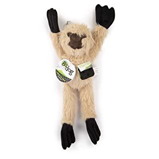 goDog Crazy Tugs Fuzzy Sloth with Chew Guard Technology Plush Dog Toy, Tan, Large
