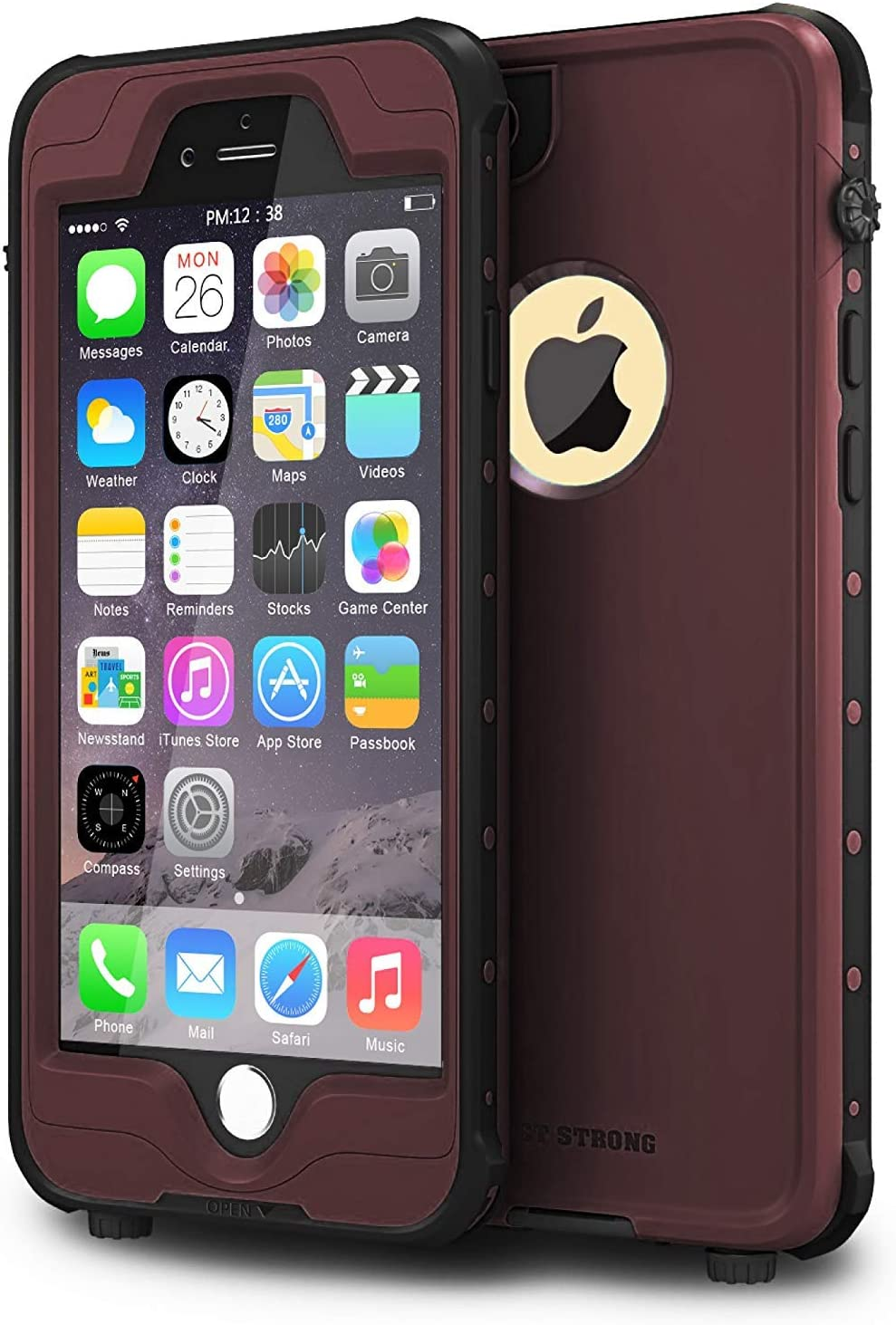 """ImpactStrong iPhone 6 Waterproof Case [Fingerprint ID Compatible] Slim Full Body Protection Cover for Apple iPhone 6 / 6s (4.7"""") - Coffee"""