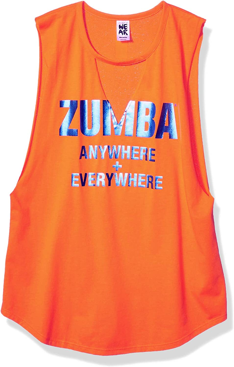 Zumba Womens Womens Graphic Design Loose Breathable Workout Tank Top Sleeveless Tank