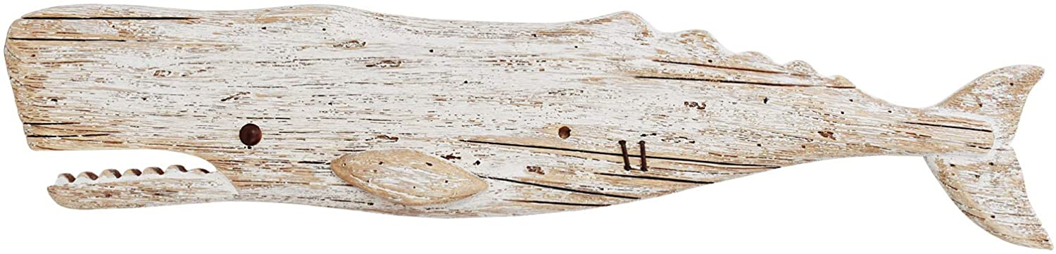 Wooden Whale Decor Hanging Wood Whale Decorations for Wall, Rustic Nautical Whale Decor Beach Theme Home Decoration Whale Sculpture Home Decor for Bathroom Bedroom Lake House Decoration