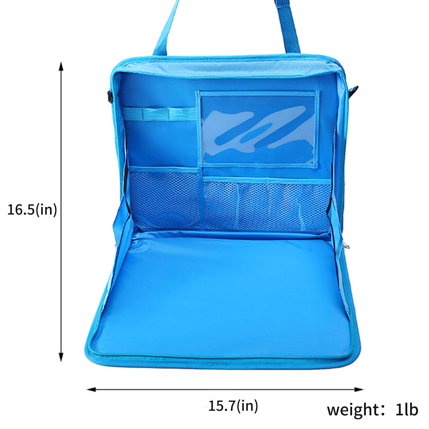 Storage Pockets and Large iPad Tablet Holder Carry Bag for Kids Adults and Olde Apply for Eating Snack Tray Blue Travel Tray Car Seat Lap Tray 4 in 1 Car Seat Organizer
