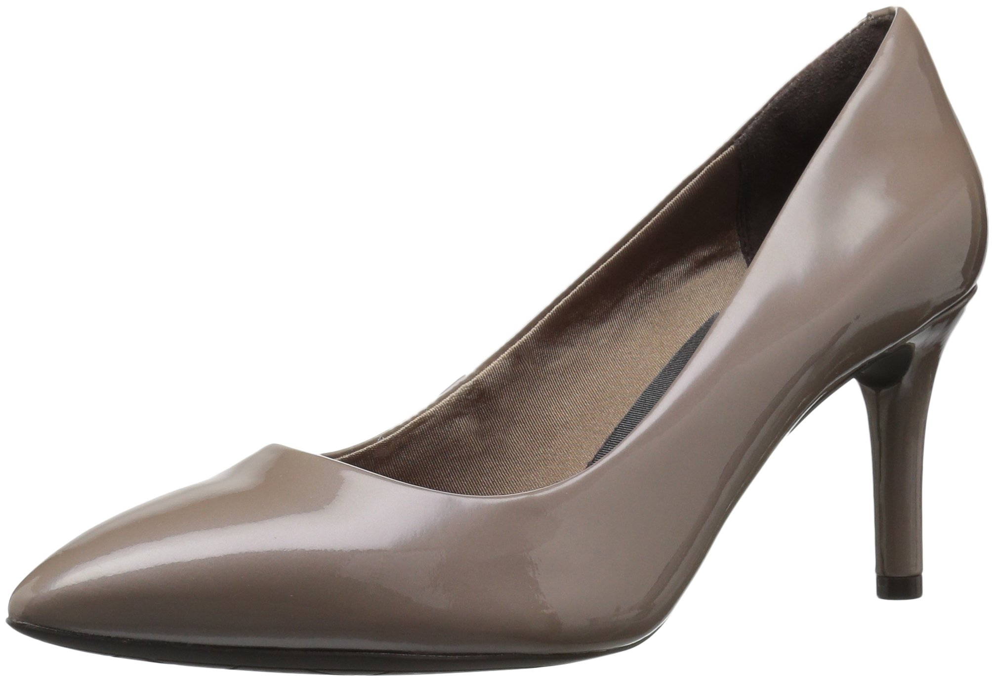 Rockport Women's Total Motion 75mm Pointy Dress Pump, Taupe Grey Patent, 6 W US by Rockport