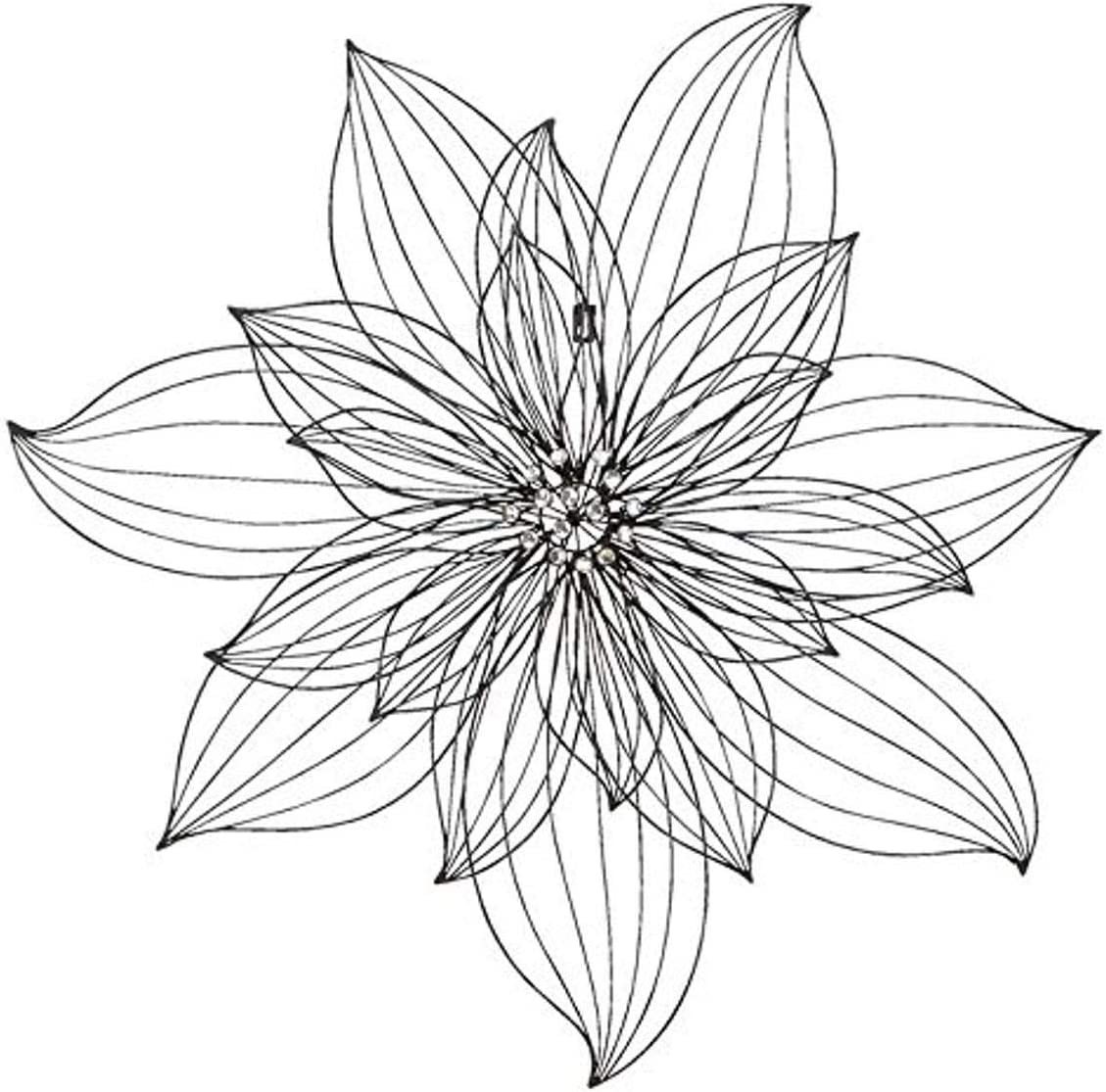 """Deco 79 Modern Metal Outline Floral Wall Decor, 29""""H x 29""""L, Textured Black Finish"""
