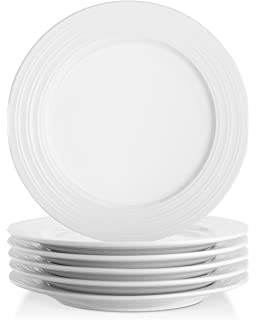 Lifver 10 Inch Porcelain Dinner Plates/Serving Platters With Embossed Ring  Rim, Roundu0026Elegant