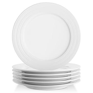 Lifver 8-inch Porcelain Decorative Rims Lunch Plates/Appetizer Plates, Elegant White, Set of 6
