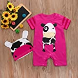 Clearance Sale 6M-24M,Yamally_9R 2PC Toddler Summer Set Baby Boys Girls Cow Romper+Hats