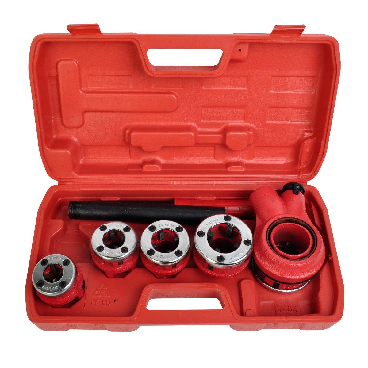 New Ratchet Pipe Threader Kit Set Handle Plumbing Case Ratcheting w/5 Stock Dies Handle Plumbing Case