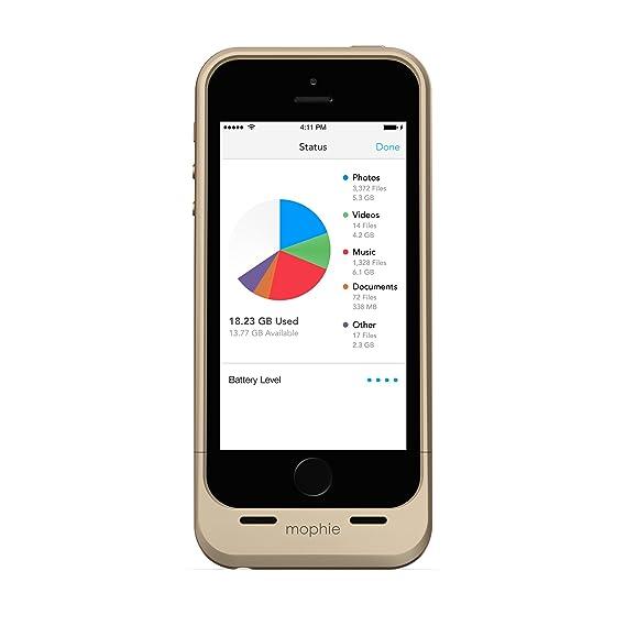 a05bde3d7e3 Mophie Space Pack - Carcasa con batería y Capacidad de Almacenamiento de 32  GB para Apple iPhone 5/5s, Color Dorado: Amazon.com.mx: Electrónicos