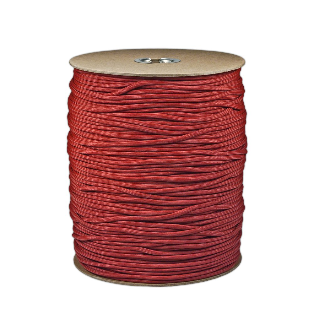 Paracord Planet Brand Nylon 550lb Type III Commercial Grade 7 Strand Paracord Made in USA 1000 Ft Spools (Crimson)