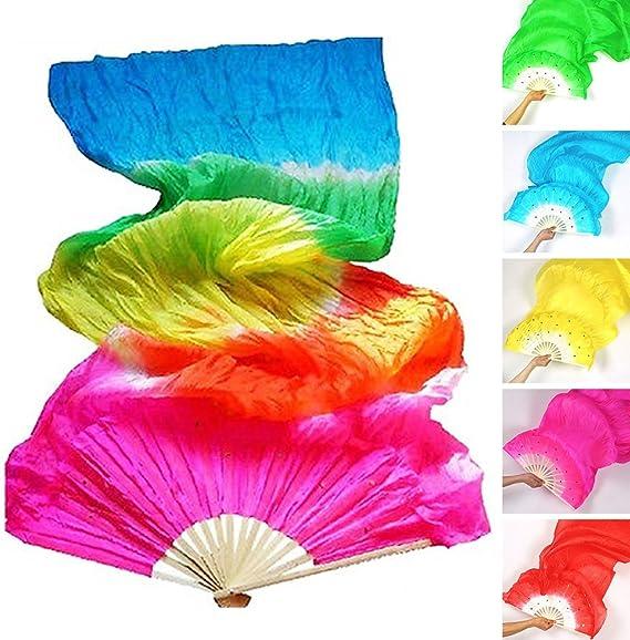 Abanico de Seda para Danza Disfraz de bamb/ú Largo de Seda para Mujer Woopower Veil