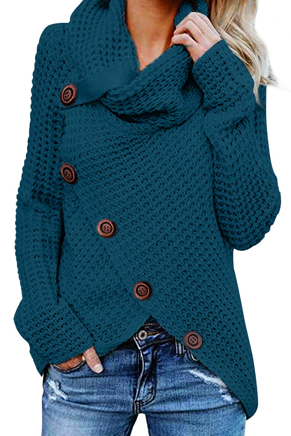 Asvivid Womens Chunky Turtle Cowl Neck Asymmetric Hem Wrap Button Winter Warm Cozy Knitted Pullover Sweaters M Blue