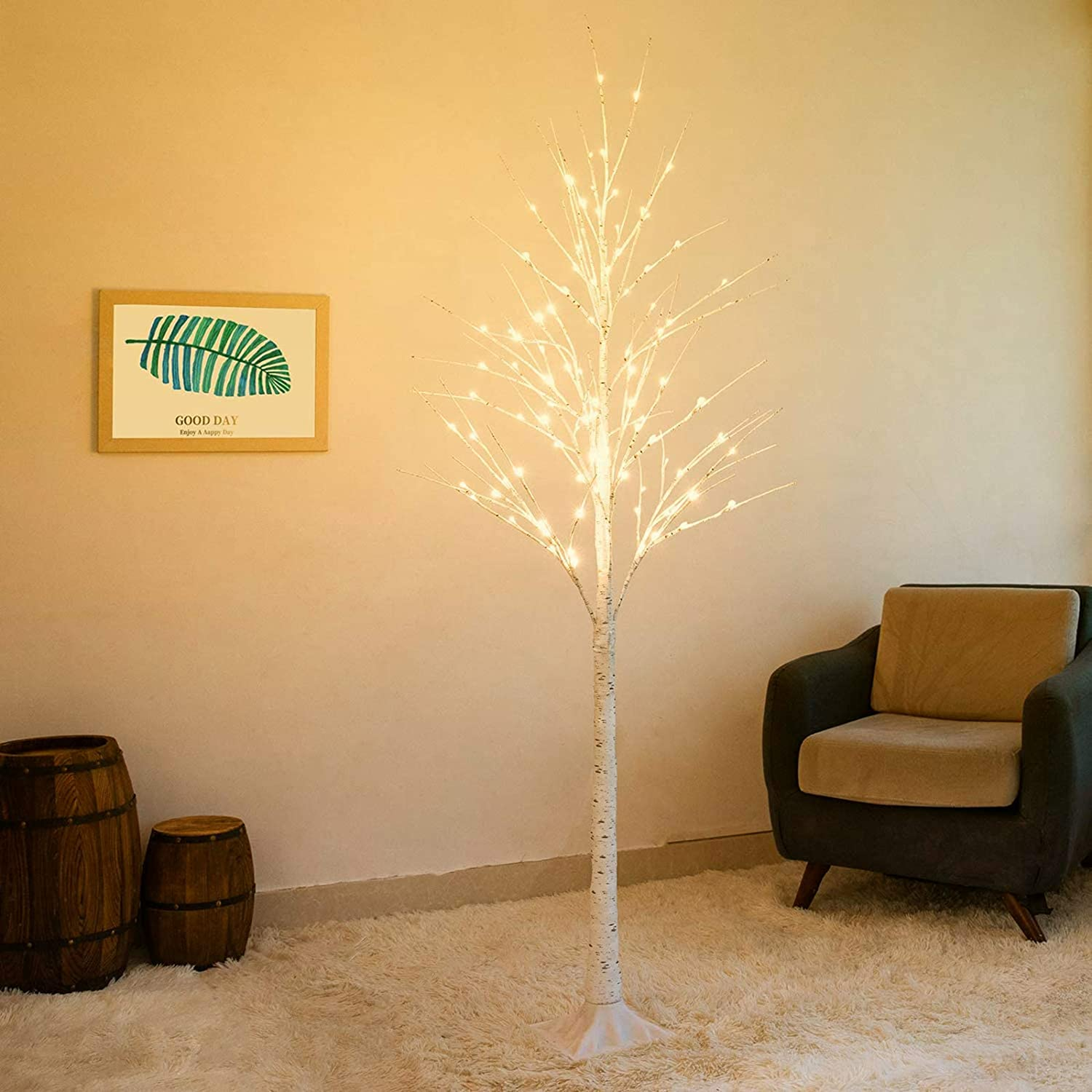 Bolylight LED Birch Tree 6ft 96L LED Lighted Tree Christmas Decorations Outdoor and Indoor Use Warm White