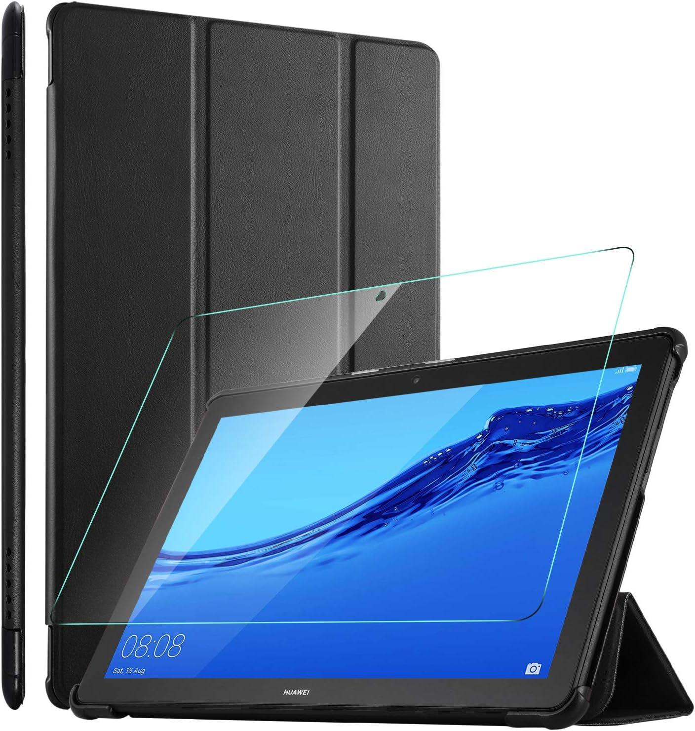 ELTD Funda + Protector Pantalla [combinación] para Huawei MediaPad T5 10 Pulgadas, Fundas Duras Case + Vidrio Templado Glass Film para MediaPad T5 10 10.1