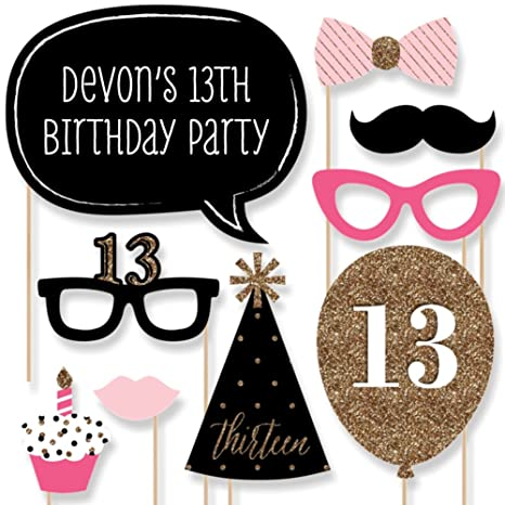 Big Dot of Happiness Custom Chic 13th Birthday - Pink, Black and Gold -  Birthday Photo Booth Props Kit - Personalized Birthday Party Decorations -  20