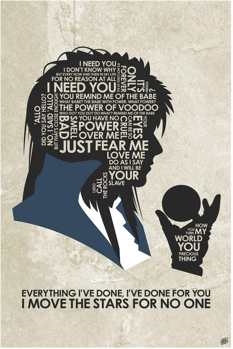 Labyrinth, Everything I've Done, I've Done for You Giclee Art Print Poster from Typography Drawing by Pop Artist Stephen Poon 12