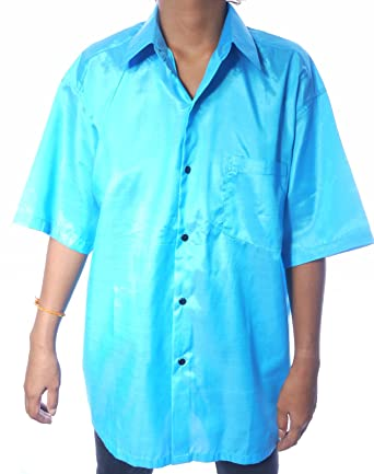 d0fb8ee4775930 MENS SILK SHIRT - PLAIN LIGHT   SKY BLUE - SHORT SLEEVE SLEEVED size XL  48in 122cm  Amazon.co.uk  Clothing