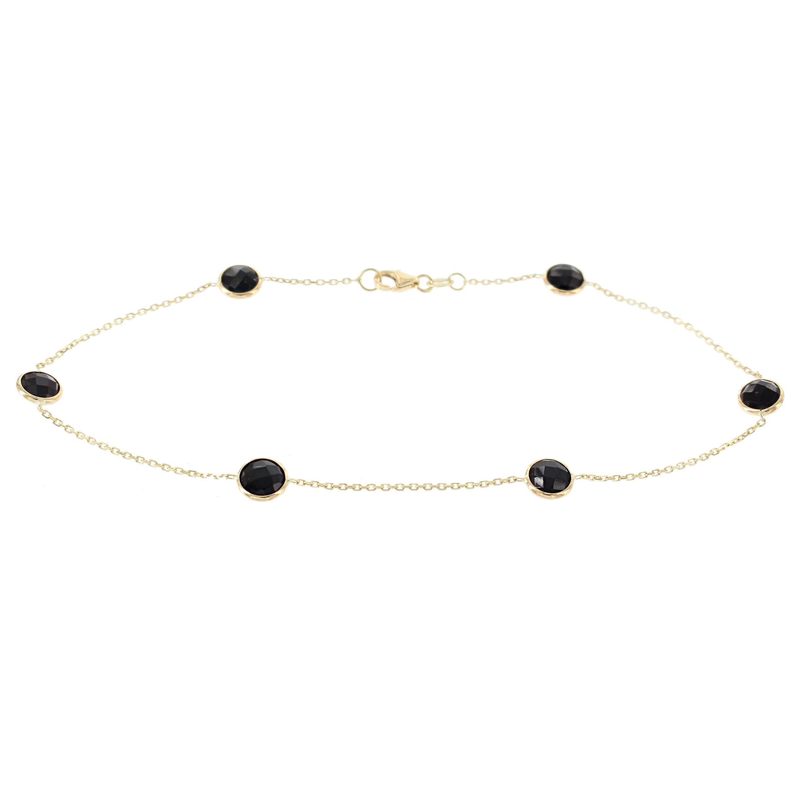 14k Yellow Gold Ankle Station Bracelet With Black Onyx Gemstones (9 - 11 inches)