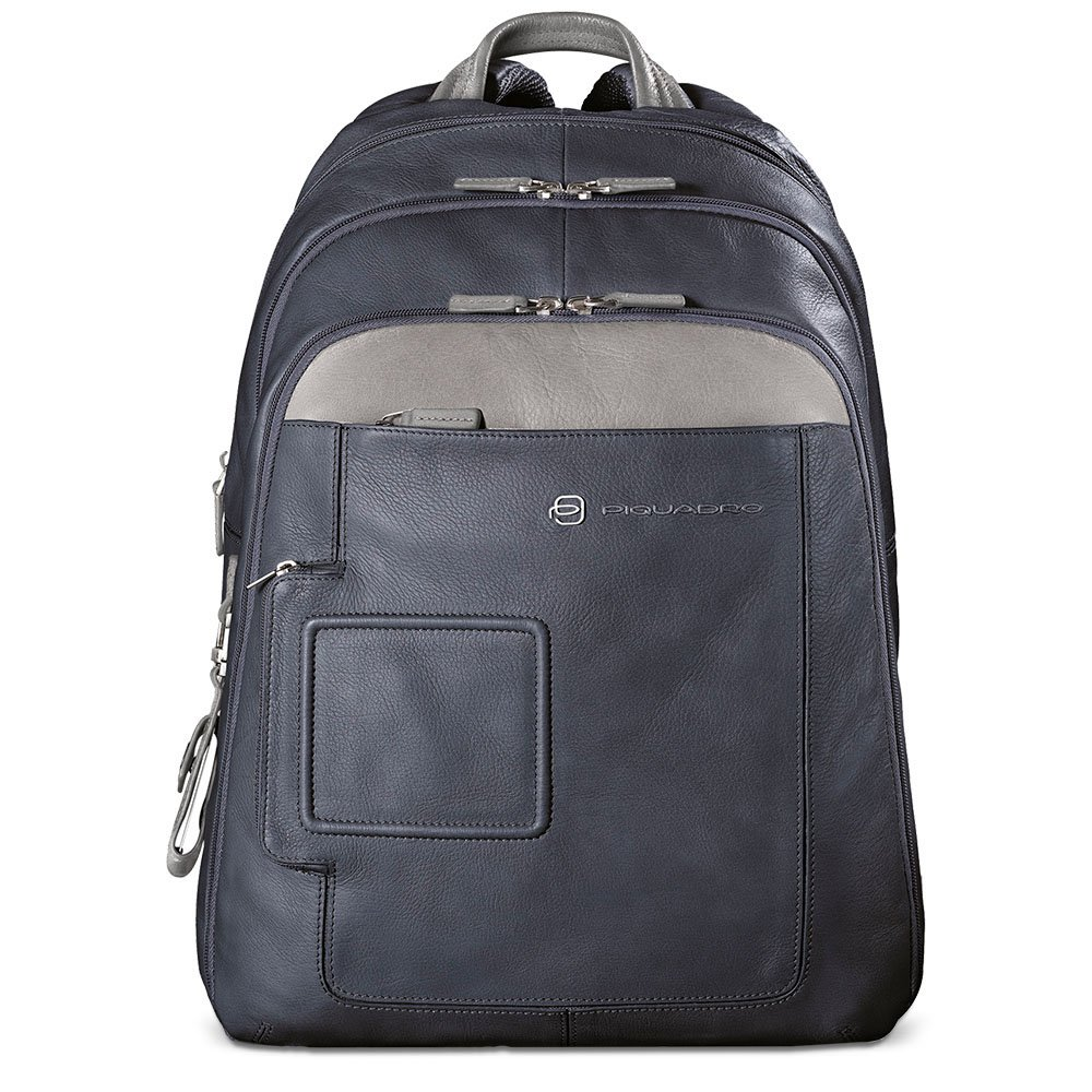 Piquadro Computer Backpack with iPad and Notebook Double Compartment, Blue/Grey, One Size