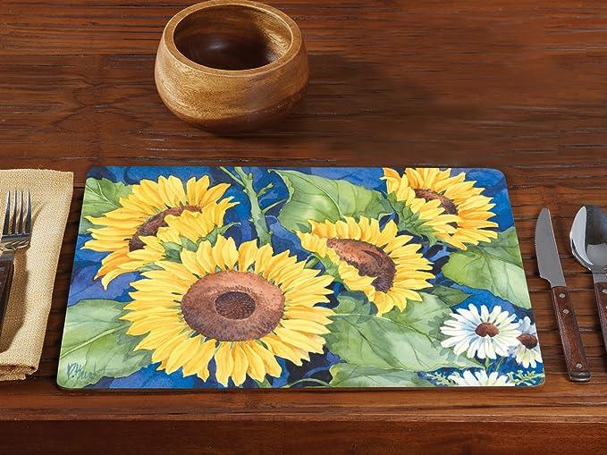 Amazon Com Counterart Set Of 2 Hardboard Placemats Sunflowers Home Kitchen