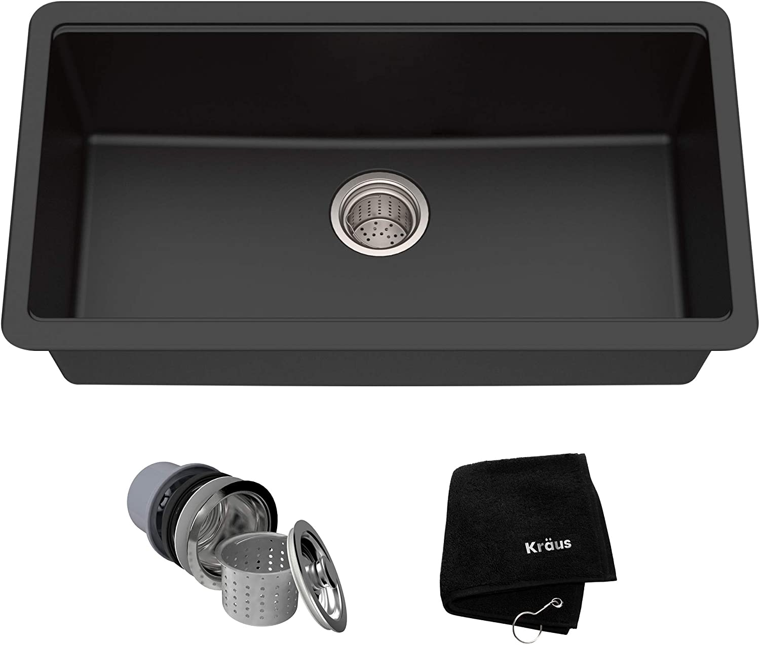 best granite sink: Kraus KGU-413B 31-inch Undermount sink