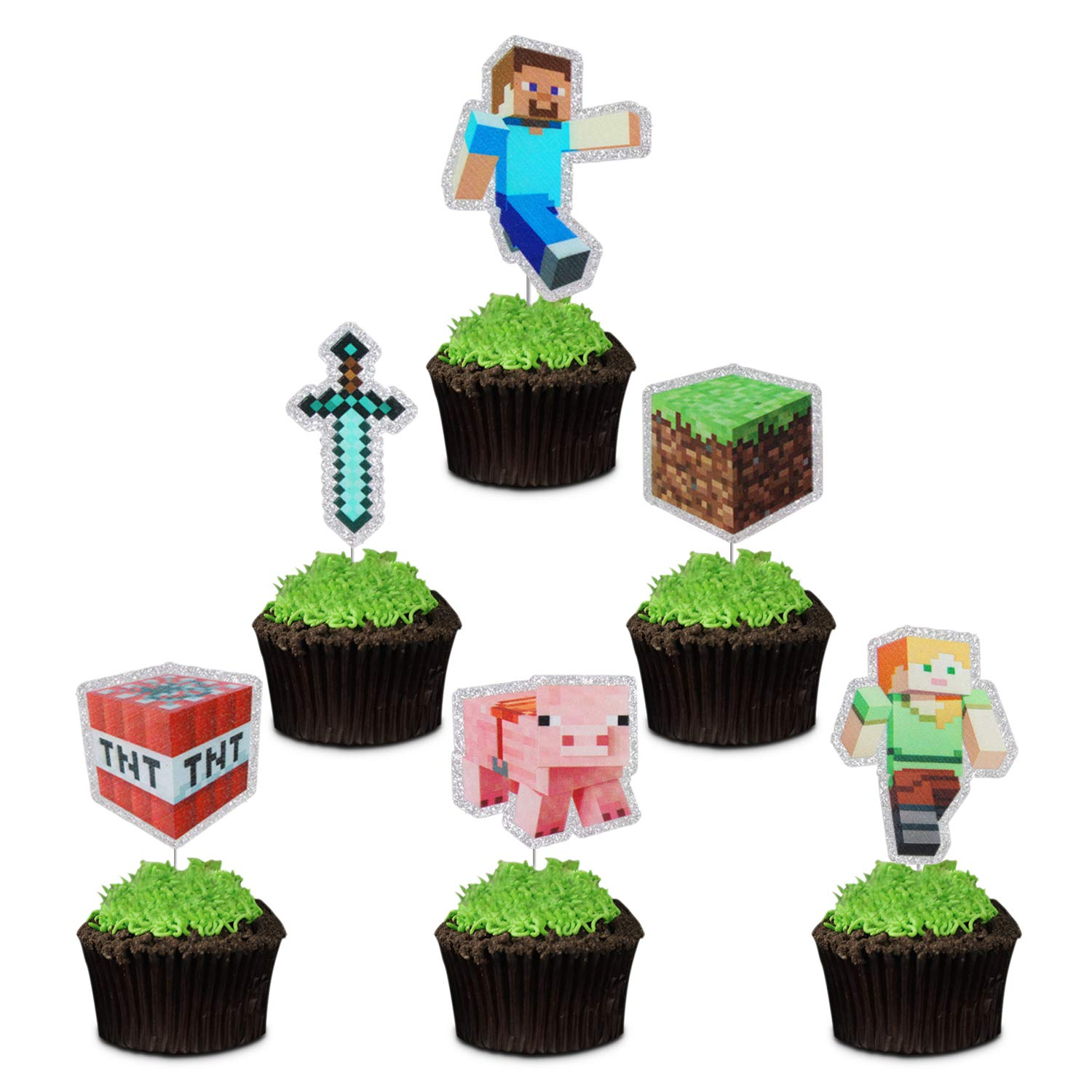 Pixel Miner Crafting Cake Toppers - 24 Pcs Video Game Block Scared Games Inspired Food Picks for Children's or Adults Birthday Baby Shower Party Supplies