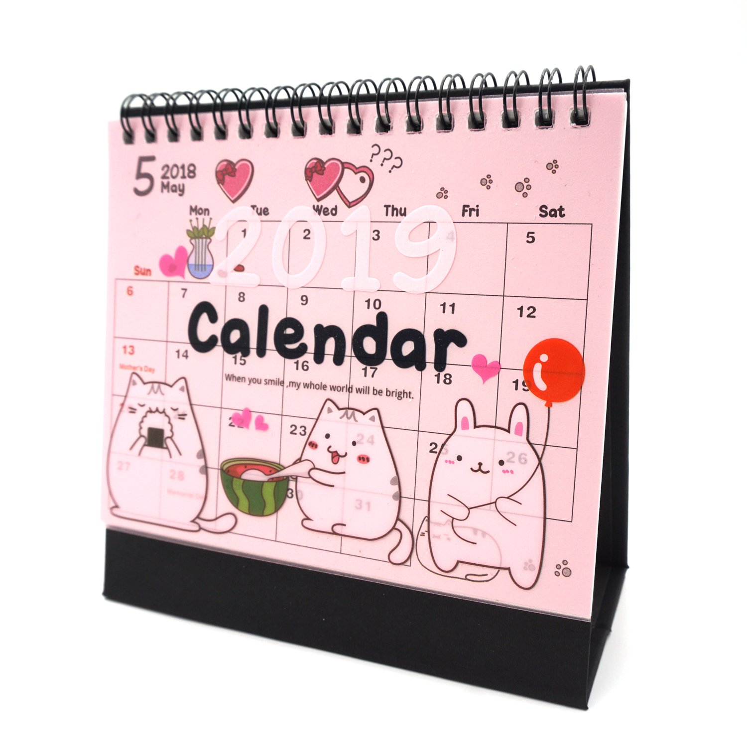 Desk Calendar 2019 2020 Academic Planner Daily Weekly Monthly Yearly Organizer and Goal Journal, Designed to Set Goals and Get Things Done (Cat)