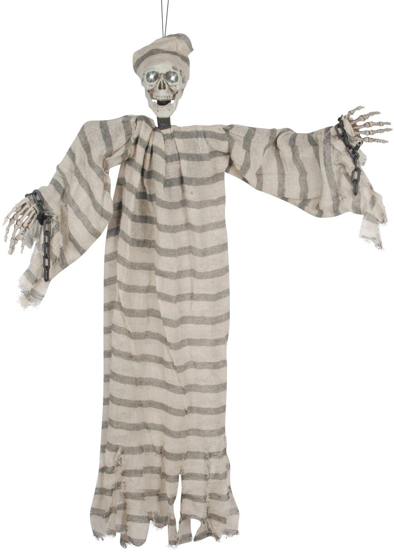 Loftus International Shaking Lightup & Sound Prisoner Skeleton Ghost 33'' Animated Prop Tan Green Novelty Item